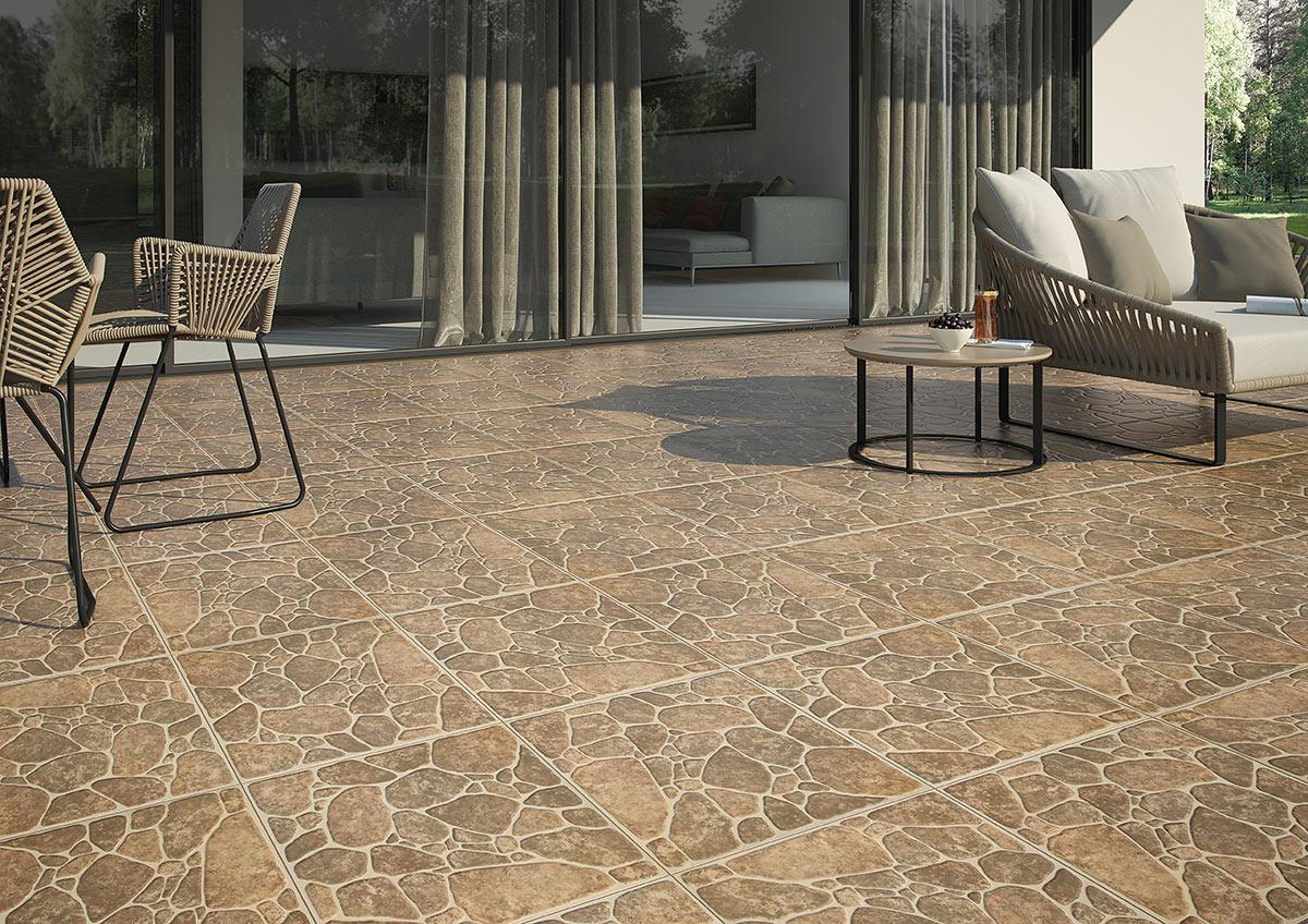 Casa con piso de piedra